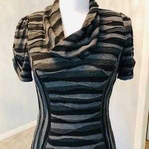 EVAN-PICONE Cowl neck gray short sleeve midi dress